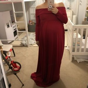 Off the Shoulder Burgundy Red Maternity Maxi Gown
